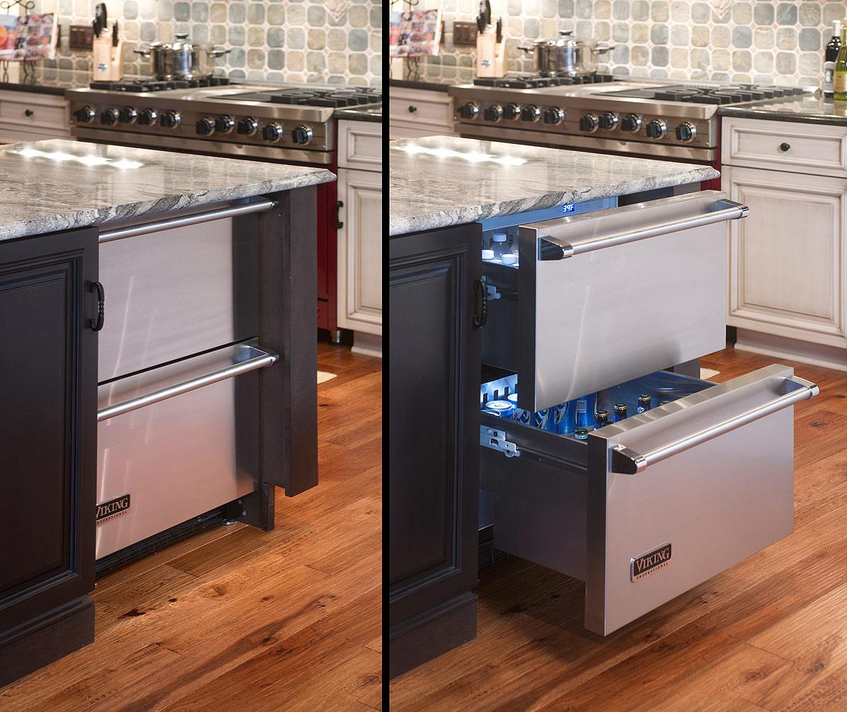 Встроенный холодильник под столешницу